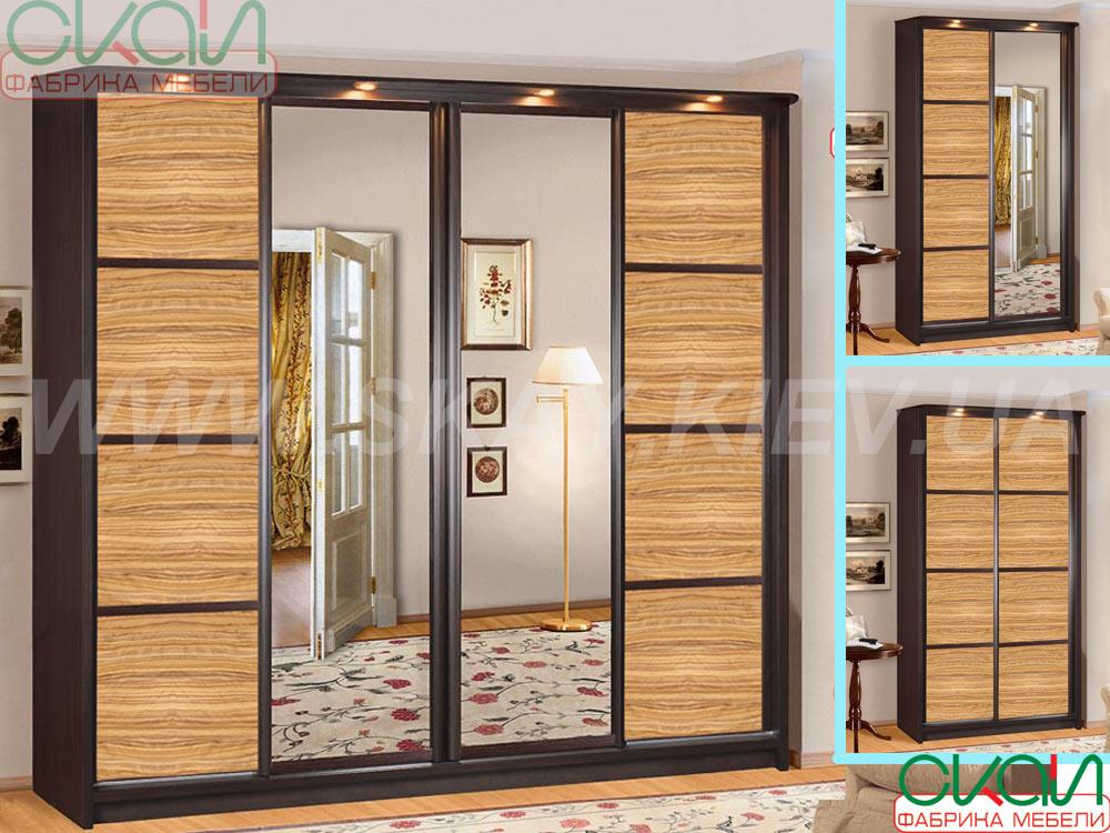 Фабрика мебели скай - шкаф-купе элит 4-х дверный с зеркалом .